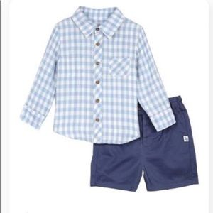 Little Brother Long Sleeve Gingham top & Short Set